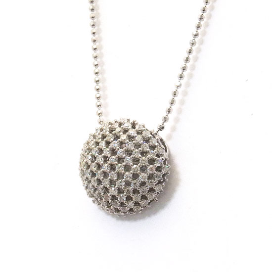 K18WGダイヤ ネックレス